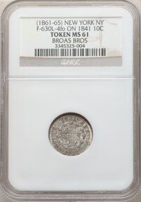 (1861-65) Broas Bros, New York, NY, Fuld-630L-4fo -- Struck on 1841 Dime -- MS61 NGC