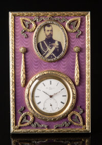A Gilt Silver, Guilloché Enamel, and Diamond Clock in the Manner of Fabergé, late 20th century 5-1/4 x 3-1...