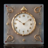 An Agate, 14K Gold, Guilloché Enamel, and Diamond-Mounted Clock in the Manner of Fabergé, late 20th centur...