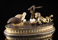 A Silver, Diamond, and Pearl-Mounted Figural Paperweight in the Manner of Fabergé, late 20th century 2 x 3-3/4 x...