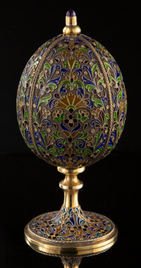 A Plique-a-Jour Enamel, 14K Gold, Hardstone, and Diamond-Mounted Box in the Manner of Fabergé, 20th century 1-1/4...
