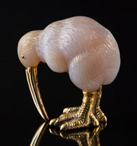 A Carved Agate and 14K Gold Carved Bird in the Manner of Fabergé, late 20th century 2-3/8 x 1-1/2 x 2-1/4 inches...