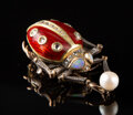 Silver & Vertu, A 14K Gold, Silver, Guilloché Enamel, Diamond, and Opal-Mounted Insect-Form Brooch in the Manner of Fabergé, late 20th centu...