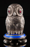 Silver & Vertu, A Silver, Guilloché Enamel, and Garnet-Mounted Owl-Form Perfume Bottle in the Manner of Fabergé, late 20th century. 3-7/8 x ...