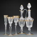 Glass, A Twenty Piece St. Louis Excellence Pattern Partial Gilt and Clear Glass Stemware Service, France, designed 1967... (Total: 20 Items)