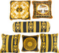 Textiles, A Set of Six Atelier Versace Black and Gold Silk and Cotton Pillows, Italy, 21st century. Marks: VERSACE. 9-1/4 x 30-1/2... (Total: 6 Items)