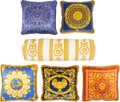 Textiles, A Set of Six Atelier Versace Multi-Color Silk and Cotton Pillows, Italy, 21st century . Marks: VERSACE. 9-1/4 x 31-1/2 i... (Total: 6 Items)