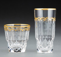 A Set of Sixteen St. Louis Excellence Pattern Partial Gilt Glassware, France, designed 1967 Marks: CRISTAL, S... (Total:...