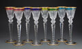 Glass, A Set of Eight St. Louis Excellence Pattern Clear and Multi-Color Glass Hock Wine Glasses, France, designed 1967... (Total: 8 Items)