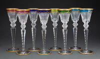 A Set of Eight St. Louis Excellence Pattern Clear and Multi-Color Glass Hock Wine Glasses, France, designed 1967... (Tot...