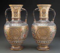 A Pair of Enameled Glass Vases Attributed to Lobmeyr, Austria, late 19th century 15 x 8 x 8 inches (38.1 x 20.3 x