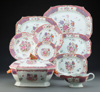 A Forty-Two-Piece Chinese Export Porcelain Dinner Service 8-1/2 x 14 x 9-1/4 inches (21.6 x 35.6 x 23.5 cm)  ... (Total:...