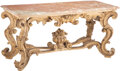 Furniture, A Large Continental Rococo-Style Carved Giltwood Console Table with Marble Top. 35 x 71-1/2 x 32 inches (88.9 x 181.6 x 81.3...
