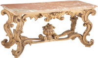 A Large Continental Rococo-Style Carved Giltwood Console Table with Marble Top 35 x 71-1/2 x 32 inches (88.9 x 181.6 x 8...