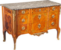 A Transitional-Style Gilt-Bronze Mounted Kingwood and Mahogany Commode with Marble Top, 20th century 30-1/2 x 50-1/2 x 2...