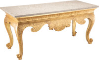 A Fine George III Giltwood Console Table with Marble Top, 19th century 33 x 70 x 30-1/2 inches (83.8 x 177.8 x 77