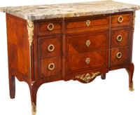 A Louis XV to Louis XVI Transitional Revival Mahogany and Breche d'Alep Marble Commode with Gilt Bronze Mounts, early 19...