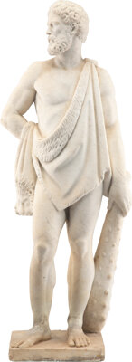 An Italian Classical-Style Marble Sculpture of Hercules, 19th century 48 x 18-1/2 x 12 inches (121.9 x 47.0 x 30.5