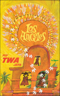 """Los Angeles: Fly TWA Jets (Trans World Airlines, 1960s). Rolled, Very Fine. Travel Poster (25"""" X 40"""") David Kl..."""