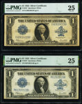 Large Size:Silver Certificates, Fr. 237 $1 1923 Silver Certificate Two Examples PMG Very Fine 25.. ... (Total: 2 notes)