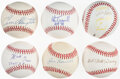 Autographs:Baseballs, Hall of Famers Single Signed Baseballs, Lot of 6 - Rice, Trammell, Terry, Slaughter, Irvin, Sewell!...
