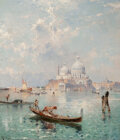 Paintings, Franz Richard Unterberger (Austrian, 1837-1902). Santa Maria della Salute from the Grand Canal. Oil on canvas. 32-3/8 x ...