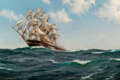 Paintings, Montague Dawson (British, 1895-1973). The Song of the Sea, 1936. Oil on canvas. 28-1/8 x 42-1/8 inches (71.4 x 107.0 cm)...
