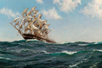Montague Dawson (British, 1895-1973) The Song of the Sea, 1936 Oil on canvas 28-1/8 x 42-1/8 inch