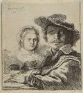 Works on Paper, Rembrandt van Rijn (Dutch, 1606-1669). Self-portrait with Saskia, 1636. Etching on laid paper. 4-1/8 x 3-5/8 inches (10....