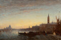 Paintings, Félix Ziem (French, 1821-1911). Gondoliers at Esclavons Quay, Venice, circa 1865. Oil on panel. 20-3/4 x 31-1/2 inches (...