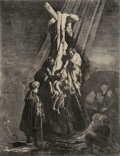 Works on Paper, Rembrandt van Rijn (Dutch, 1606-1669). The Descent from the Cross: Second Plate, 1633. Etching and engraving on chine co...