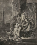 Works on Paper, Rembrandt van Rijn (Dutch, 1606-1669). Christ before Pilate: large plate, 1635. Etching with engraving on paper. 21-1/2 ...