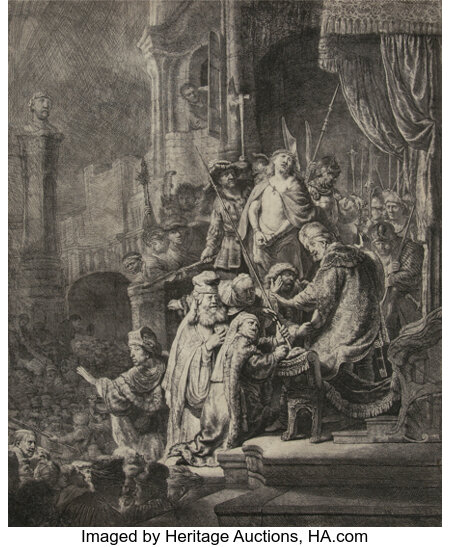 Rembrandt van Rijn (Dutch, 1606-1669) Christ before Pilate: large plate, 1635 Etching with engraving on paper 21-1/2 ...