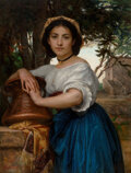 Paintings, Diogene Ulyssee Napoleon Maillart (French, 1840-1926). Young Romani water carrier. Oil on canvas. 43-1/2 x 33 inches (11...