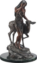 Sculpture, Stanley Quentin Johnson (American, 1939-2017). Deer Maiden, 1982. Bronze with brown patina. 24-1/2 x 1 inches (62.2 x 2....