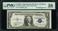 Error Notes:Miscellaneous Errors, Misaligned Face Printing Error Fr. 1609 $1 1935A R Silver Certificate. PMG Choice About Unc 58.. ...
