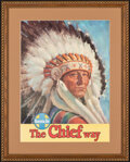 """Movie Posters:Miscellaneous, Santa Fe: The Chief Way (ATSF, 1950s). Fine- on Cardstock. Framed and Matted Travel Poster (23"""" X 28.75""""). Miscellaneous.. ..."""