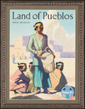 Movie Posters:Miscellaneous, Santa Fe: Land of Pueblos (Atchison, Topeka and Santa Fe Railway, 1940s). Fine- on Foam Core. Matted and Framed Travel Poste...