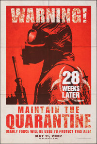 "28 Weeks Later (20th Century Fox, 2007). Rolled, Very Fine+. One Sheet (27"" X 40"") DS Advance. Horror"