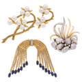 Estate Jewelry:Brooches - Pins, Diamond, Lapis Lazuli, Cultured Pearl, Gold Brooches. ... (Total: 3 Items)