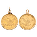 Estate Jewelry:Pendants and Lockets, U.S. Gold Coins, Gold Pendants . ... (Total: 2 Items)