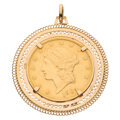 Estate Jewelry:Pendants and Lockets, U.S. Gold Coin, Gold Pendant . ...