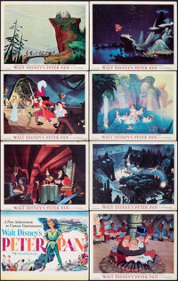 "Peter Pan (RKO, 1953). Overall Grade: Fine+. Title Lobby Card & Lobby Cards (7) (11"" X 14""). Animation..."