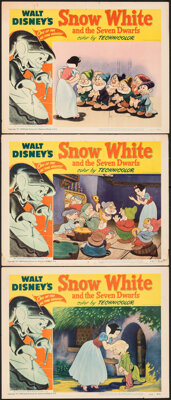 """Snow White and the Seven Dwarfs (RKO, R-1951). Fine+. Lobby Cards (3) (11"""" X 14""""). Animation. ... (Total: 3 It..."""
