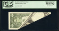 Printed Foldover Error Fr. 1910-B $1 1977A Federal Reserve Note. PCGS Choice About New 58PPQ