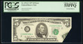 Error Notes:Foldovers, Printed Foldover Error Fr. 1974-C $5 1977 Federal Reserve Note. PCGS Choice About New 55PPQ.. ...