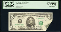 Printed Foldover Error Fr. 1974-C $5 1977 Federal Reserve Note. PCGS Choice About New 55PPQ