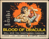 "Blood of Dracula (American International, 1957). Folded, Fine+. Half Sheet (22"" X 28"") Albert Kallis Artwork..."