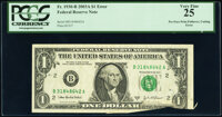Pre-Face Printing Foldover Error and Cutting Error Fr. 1930-B $1 2003A Federal Reserve Note. PCGS Very Fine 25