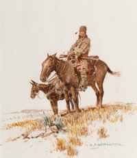 Nick Eggenhofer (American, 1897-1985) Lone Scout and his Sidekick Watercolor and pencil on paper 13-3/4 x 11-3/4 inch